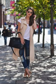 Thankfifi - patched jeans, sleeveless trench coat