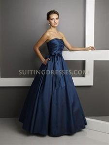 Stunning Navy Satin Strapless Ruched Ball Gown Mori Lee 230 With A Bow $128.00
