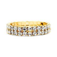 Bold Gold Rhinestone Stretch Bracelet