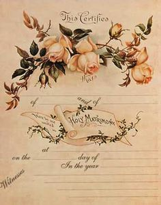 Yellow Roses Marriage Certificate