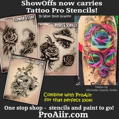7cd378d80 ShowOffs now carries Tattoo Pro Stencils by Wiser! Airbrush Tattoo, Stencil  Painting, Body