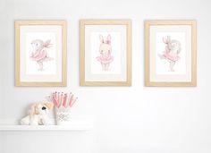SET of three Children's Art Baby Room Paintings, Baby Painting, Ballerina Nursery, Ballerina Art, Bunny Nursery, Girl Nursery, Nursery Prints, Nursery Wall Art, Rabbits