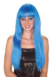 Long Blue Straight Full Wig with Bangs Halloween Costume for Women