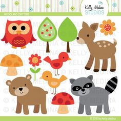 Woodland Animals - Clip Art Set - Digital Elements Commercial use for Cards, Stationery and Paper Crafts and Products. $5.00, via Etsy.