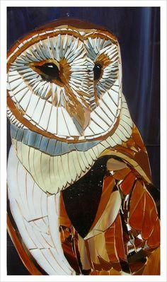 Ungrouted Barn Owl Card - Bird of Prey Card - Mosaic Art - Mosaic Barn Owl - Eagle Card - Greetings Card - Barn Owl Art Bird Card Owl Print Owl Mosaic, Mosaic Birds, Mosaic Diy, Mosaic Crafts, Mosaic Projects, Mosaic Glass, Glass Art, Stained Glass, Mosaic Garden