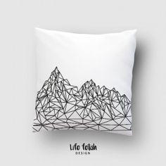 Poduszka z górami - Rękodzieła i Handmade od Life fetish design Tapestry, Throw Pillows, Handmade, Design, Home Decor, Hanging Tapestry, Tapestries, Toss Pillows, Hand Made