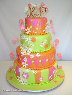 hmmmm....it is listed as a whimsical wedding cake. I bet the brides maids hated wearing those colors. :)
