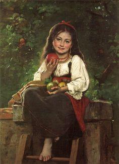 "Léon Bazile Perrault (1832-1908), ""The Apple Picker"""