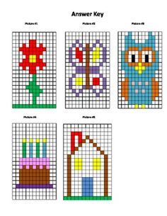 Hidden Pictures Coordinate Graphs: This is a set of 5 hidden pictures that are made by coloring in the correct squares using the coordinates given.