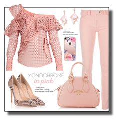 """Monochrome in Pink"" by gracecar3 ❤ liked on Polyvore featuring Balenciaga, self-portrait, Gianvito Rossi, Vivienne Westwood, Oscar de la Renta Pink Label and Casetify"