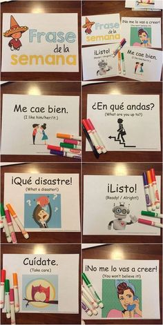 "For incorporating a phrase of the week or ""frase de la semana"" into middle / high school Spanish. Would be a cute bulletin board... By Sol Azúcar #learnspanishforkids"