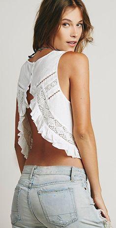 #summer #fashion / Sleeveless Lace Pieced Washed Tank