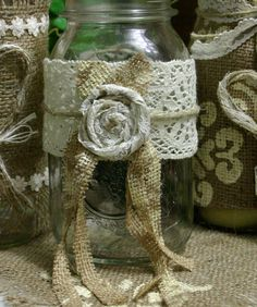burlap wedding centerpiece! candle and flower vase covers.