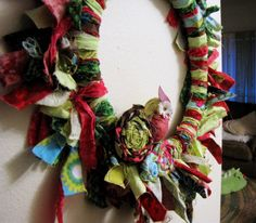 Rag wreath! Easy scrap-busting project. :)