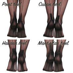 Sizing guide (inches) XS - to slim leg S - to M - to L - to XL - to Sizing guide (cms) XS - to slim leg S - to < Pointed Heels, High Heel Pumps, Pumps Heels, Stockings Heels, Nylon Stockings, Fully Fashioned Stockings, Retro Girls, Designer Heels, Pumps