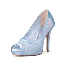 Something Blue Wedding Heels, Blue Lace Bridal Peep Toe Heels, Powder Blue Wedding Heels, Blue High Heel Satin Evening Shoes