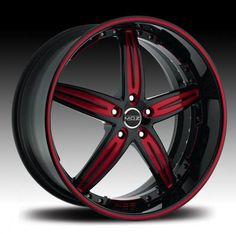 black with red accents on motorcycles | MOZ WHEELS MARANELLO BLACK RIM with RED ACCENTS - Wheels and Rims from ...