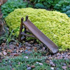 Woodland Fairy Garden Slide is part of Mini garden Fairy - Fairies are playful creatures and would love this woodland knoll slide in their garden Fairy Garden Furniture, Fairy Garden Houses, Diy Fairy Garden, Fairy Gardening, Fairy Houses Kids, Vintage Gardening, Organic Gardening, Gardening Tips, Hydroponic Gardening