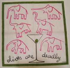 1960s Vintage Kreier Pink Elephant Martini Hankie. LOVE THIS!