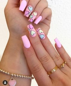 Hottest Pink Heart Nail Art Designs for 2019 Just Browse here and check out the Recent Styles of Pink Nail Art Designs with the Heart Images. If you also want to update your look of your nails then this style for you. Pink Acrylic Nail Designs, Valentine's Day Nail Designs, Pink Acrylic Nails, Pink Nail Art, Nails Design, Heart Nail Designs, Cute Nail Art Designs, Different Nail Designs, Nail Art Ideas