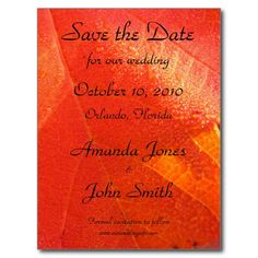 Autumn Leaves Save the Date Announcement Postcard