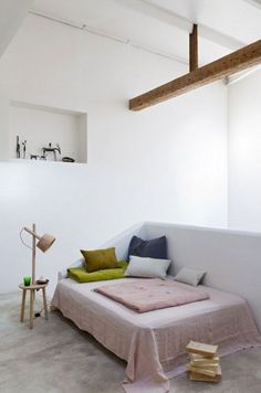 sleeping corner with linen cover and pillows