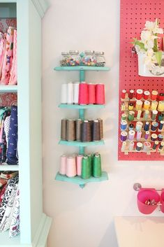 Sewing Fabric Storage The Sewing Room Reveal - Sewing Room Reveal Sewing Nook, Sewing Room Design, Sewing Spaces, My Sewing Room, Sewing Studio, Sewing Room Organization, Craft Room Storage, Fabric Storage, Storage Ideas