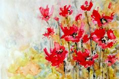"""Original art for sale at UGallery.com   Poppy Field by Karin Johannesson   $450   watercolor painting   18"""" h x 23"""" w   http://www.ugallery.com/watercolor-painting-poppy-field"""