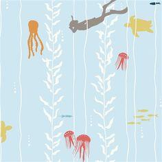 Kelp Dive by Jay-Cyn Designs for Birch Fabrics - 1/2 Yard - Beyond the Sea - Birch Organic - Organic Cotton  - Light Blue Nautical Fabric by Owlanddrum on Etsy https://www.etsy.com/listing/242413769/kelp-dive-by-jay-cyn-designs-for-birch