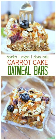 Carrot Cake Baked Oatmeal Breakfast Bars | Vegan