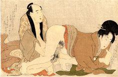 Kitagawa Utamaro, 1754-1806. Oban, yoko-e. Aus der Serie `Negai no itoguchi` (Ankündigung der Wollust) Paar bei Liebesspiel vor einem sog. 'nezu-tsubushi'-Hintergrund (helles Grau).