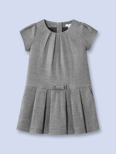 Jacadi Glee Herringbone Dress Woven herringbone dress Round neckline Gathered sleeves Tonal bow at waist Italian front pockets Rear zip closure Care: Machine washable Brand: Jacadi Origin: Imported Frocks For Girls, Little Dresses, Little Girl Dresses, Little Girl Fashion, Kids Fashion, Toddler Outfits, Boy Outfits, Top Mode, Dress Anak