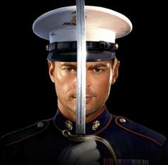 """tristinawright: """"A Marine stood on the stoop. A white cover with a black brim bearing the golden eagle, globe, and anchor shadowed his eyes. Bright-red piping on the high-necked midnight-blue blouse. Anton, Pretty Men, Beautiful Men, Star Trek, Marines Uniform, British Slang, Dominic Cooper, Eric Bana, Shock And Awe"""