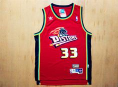 bc358a4ff5eb NBA Detroit Pistons 33 Grant Hill Swingman Throwback red Jersey