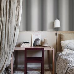 These striped walls are just fab! I can't wait to find the perfect project to use some pinstriped wallpaper in. Dark Blue Wallpaper, Striped Wallpaper, Blue Wallpapers, Room Interior, Interior Design, Home Wallpaper, Sandberg Wallpaper, Kids Bedroom Wallpaper, Wallpaper Direct