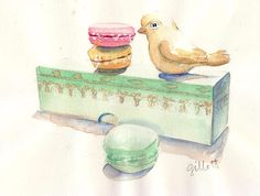 Yellow Bird in Paris original watercolor 9 x 11 by ParisBreakfast, $85.00