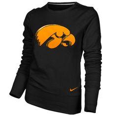 Nike Iowa Hawkeyes Ladies Black Excel Pullover Crew Sweatshirt