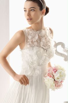 2014 Bateau A Line Lace Bodice Wedding Dress Ruched Waistband With Long Chiffon Skirt USD 209.99 EPP8ZKY93S - ElleProm.com