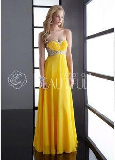 $134.99Elegant Yellow Sweetheart Empire Floor-length Chiffon Prom Dress With Beading  #Chiffon #Prom #Dress