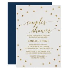 #bridal #shower #invitations - #Gold Polka Dots Couples Shower Card
