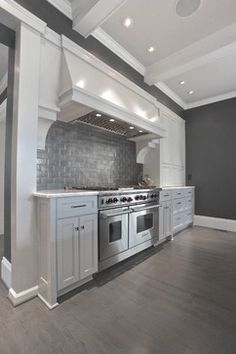 Gray kitchen Ansley Park contemporary kitchen, great colors, backsplash is perfect House Design, Gray And White Kitchen, Grey Kitchen, Contemporary Kitchen, Blue Backsplash, Diy Backsplash, Grey Hardwood, Backsplash Designs, Farmhouse Backsplash