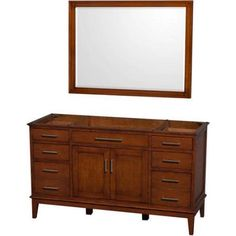 Wyndham Collection Hatton 60 inch Single Bathroom Vanity in Dark Chestnut, No Countertop, No Sink, and 44 inch Mirror, Brown