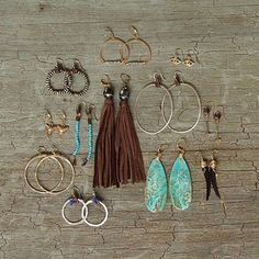 Need a little dangle in your life?   Take your pick…   #clpjewelry #handmadejewelry #jewelry #jewelrygram #earrings #gold #rosegold #silver #hoops #leather #tassel #turquoise #glam #fashion #fashionblogger #gift #gifts #giftsforher #madewithlove #madeindenver #madeinusa