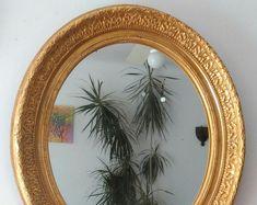 miroir ancien ovale dore a la feuille d