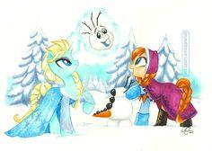 """""""Do ya wanna build a Snow-dragon?"""" Elsa and Anna as My Little Ponies"""
