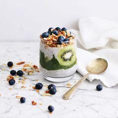 Tropical Green Chia Pudding with Coconut Crunch (gluten-free, vegan) - Fraiche Nutrition