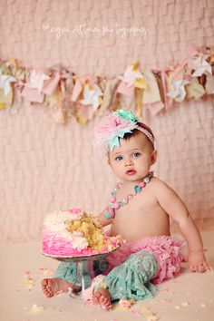 Shabby Chic Cake Smash. Outfit from @ruby blue