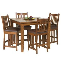 Classic Mission Pub Set: Mission Style Pub Set Features 1 Table And 4 Bar  Chairs