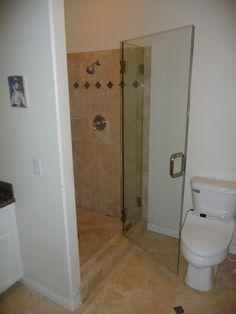 Bathroom  Comfortable Toilet Seat Plus Smart Frameless Shower Door Design Ideas And Cream Floor Tile Frameless Shower Doors Complete the Captivating Master Bathroom Interior Design