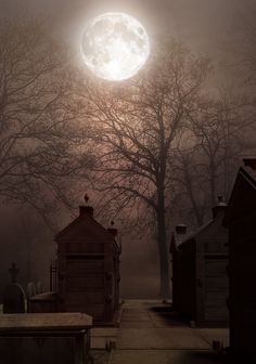 Just a Great Photo! No spooky story to tell. Cemetery in full moon BG by StarsColdNight Old Cemeteries, Graveyards, Cemetery Headstones, Shoot The Moon, Moon Shadow, Moon Pictures, Good Night Moon, Misty Night, Stormy Night